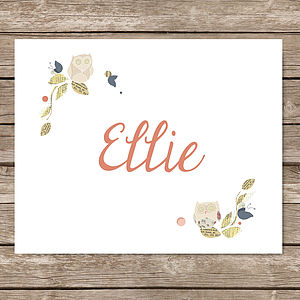 Personalised Owl Name Print - children's pictures & paintings