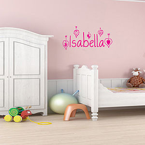 Personalised Girl's Wall Sticker With Hearts