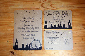 Midsummer City Wedding Stationery Range - save the date cards