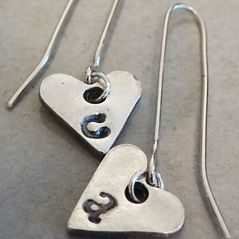 Personalised Initial Heart Drop Earrings