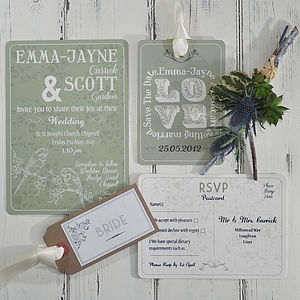 Perching Birds Wedding Invitation