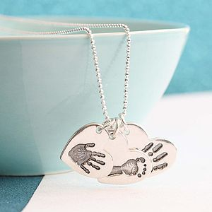 Handprint Heart Triple Charm Necklace
