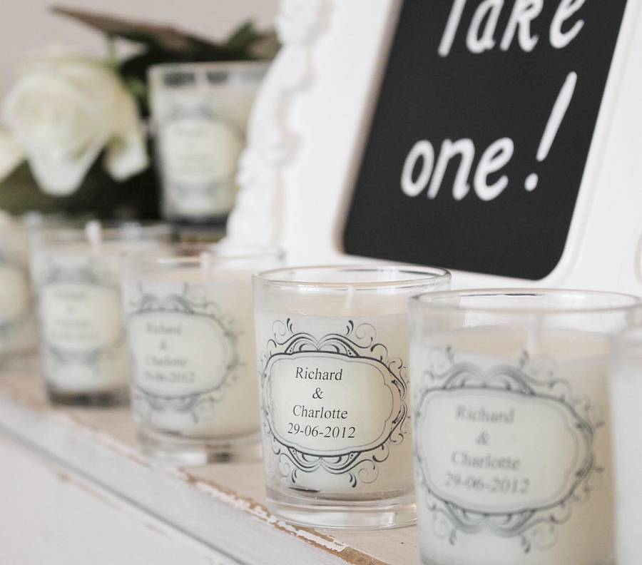 wedding favour personalised scented candles by hearth & heritage