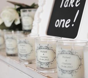 Wedding Favour Personalised Scented Candles - living room