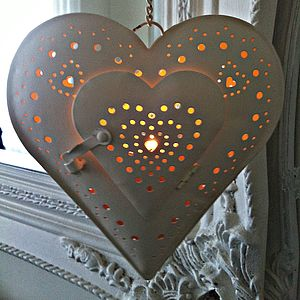Vintage Cream Hanging Heart Tea Light Holder - lights & lanterns