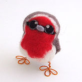 Needle Felted Robin Baby - christmas decorations
