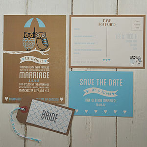 Besotted Owls Wedding Invitation - invitations
