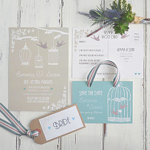 Vintage Birdcage Wedding Invitation - wedding stationery