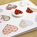 Hand Embroidered Heart Badge Card
