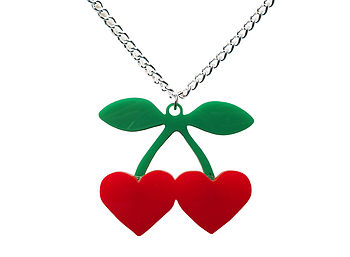 Heart Shaped Cherries Necklace
