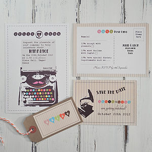 Vintage Typewriter Wedding Invitation