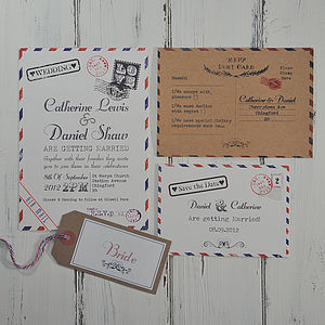Vintage Post Wedding Invitation - invitations