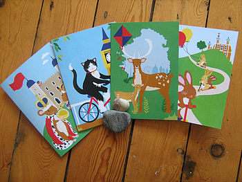 London Animals Greetings Card