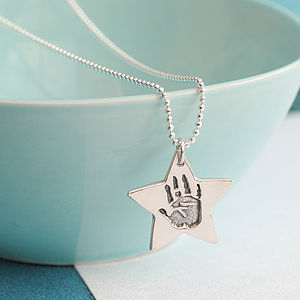 Star Charm Handprint Or Footprint Necklace