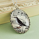 'Lovely' Bird Music Illustration Necklace