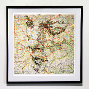Deutschland Map Portrait Print - contemporary art