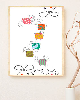 Illustrated Child's Animal Art Print