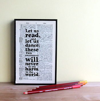 Reading And Dancing Framed Quote Art