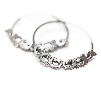 Filigree hoops oxidised silver