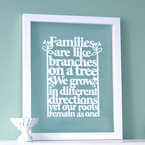 Family Tree Quote Papercut Wall Art - mixed media & collage