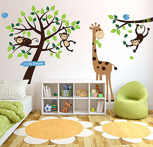 Monkey Tree Giraffe And Branch Wall Sticker - pictures, prints & paintings