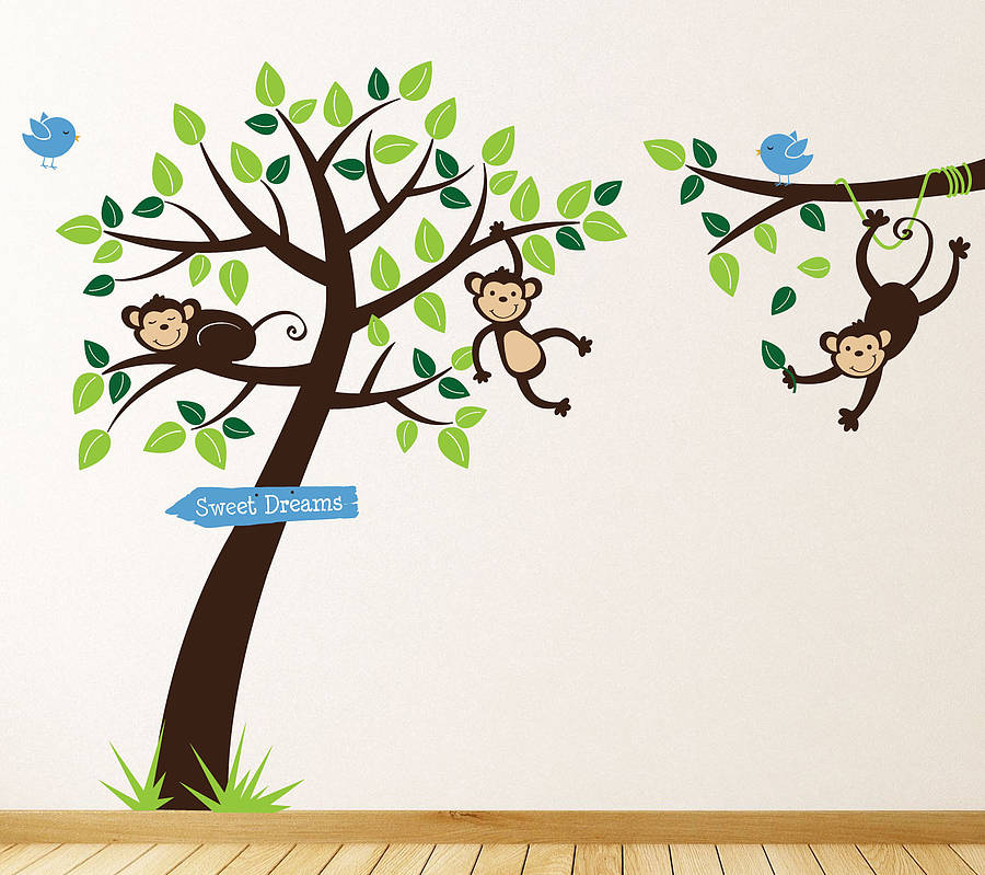 Monkey Tree And Branch Vine Wall Stickers By Parkins