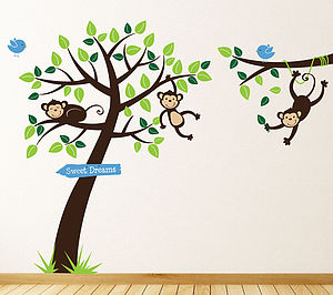 Monkey Tree And Branch Vine Wall Stickers - decorative accessories