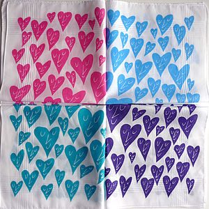 Set Of Two Happy Heart Hankies - women's accessories