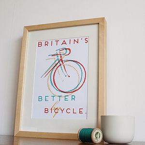 'Britain's Better By Bicycle' Screenprint - valentine's gifts for him