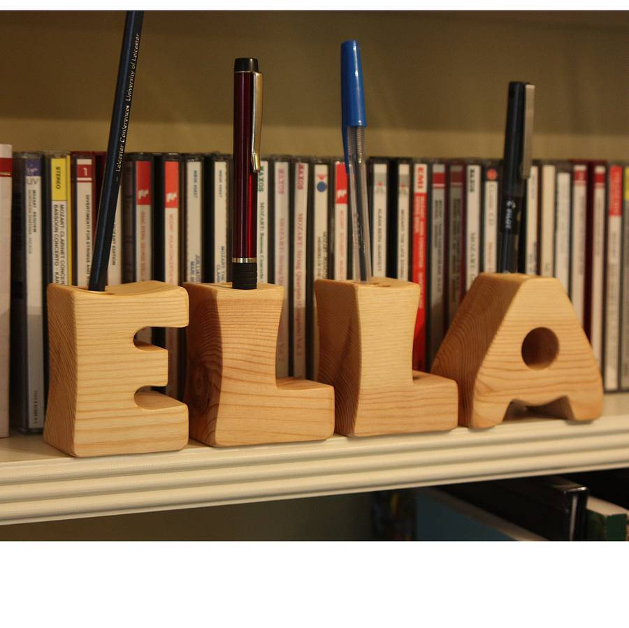 Pen Stand Designs : Wooden letter pen holder by croglin designs