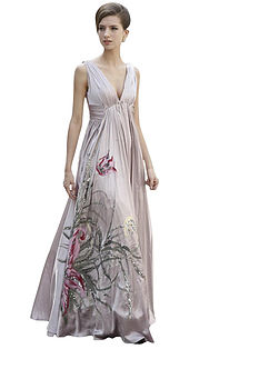 Rose A Line Evening Dress With Florals
