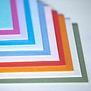 Envelopes (from L to R) Turquoise, Fuchsia, Lilac, Azure Blue, Light Blue, Antique Blue, Baby Pink, Pillar box red, Mandarin, Caramel, Camouflage Green