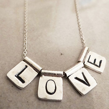 Personalised Silver Letter Tile Necklace