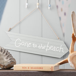 'Gone To The Beach' Wooden Sign