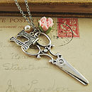 Scissors And Sewing Machine Charm Necklace