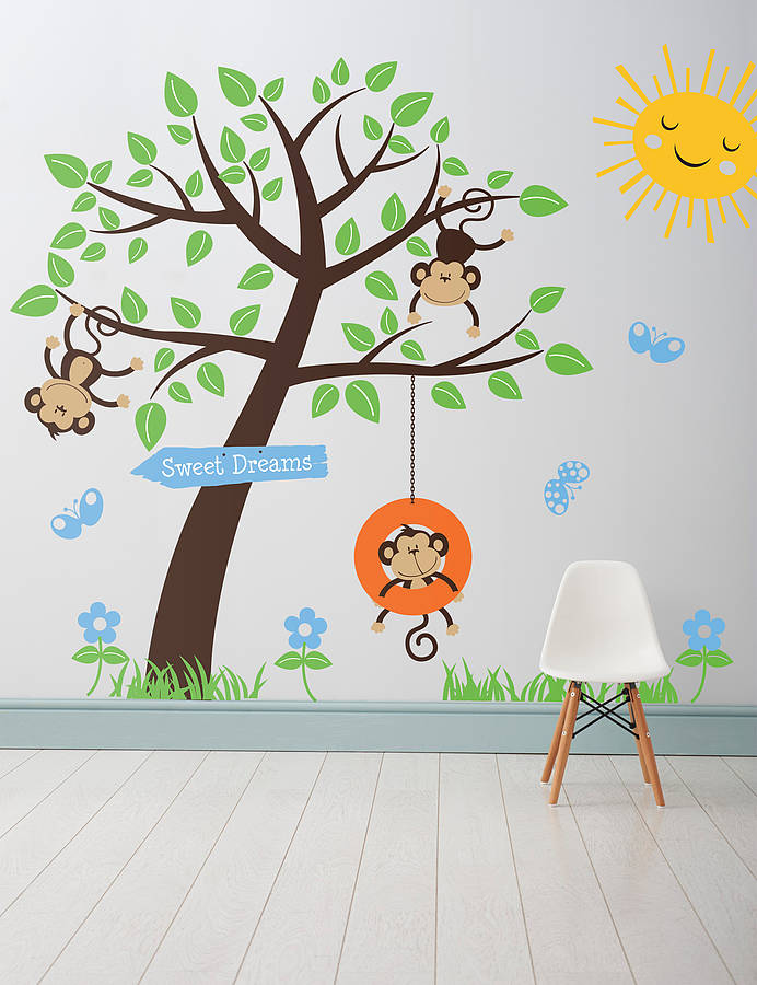 Childrenu0027s Monkey Tree Wall Stickers  sc 1 st  Notonthehighstreet.com & childrenu0027s monkey tree wall stickers by parkins interiors ...