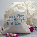 'Hugs And Kisses' Lovebird Cotton Favour Pouch