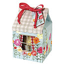 Set Of Four Floral Gingham House Cake Boxes