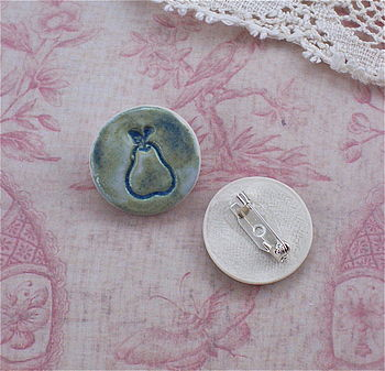Porcelain Pear Brooch Pin