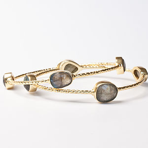 Gold And Labradorite Bangle - bracelets & bangles