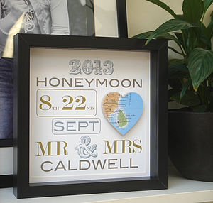 Personalised Honeymoon Map Picture