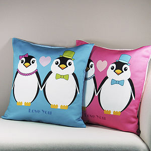 Love Penguins Cushion - soft furnishings & accessories