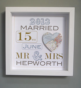 Personalised Wedding Map Picture - home accessories