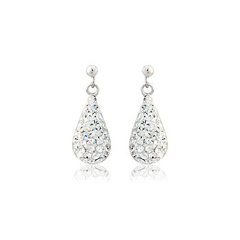 Silver Teardrop Crystal Glitter Earrings
