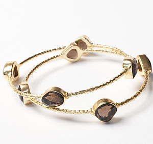 Gold And Smokey Quartz Bangle - bracelets & bangles