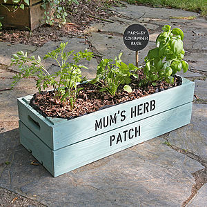 Personalised Window Box Crate With Herb Seeds - gifts for the garden