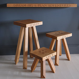 Personalised Oak Stool - family inspired homeware