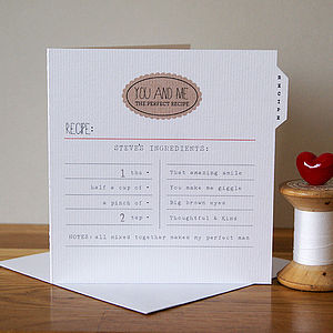 Personalised Love Recipe Card