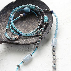 Labradorite And Blue Quartz Long Necklace - necklaces & pendants