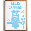 Personalised Child's 'Retro Owl' Print